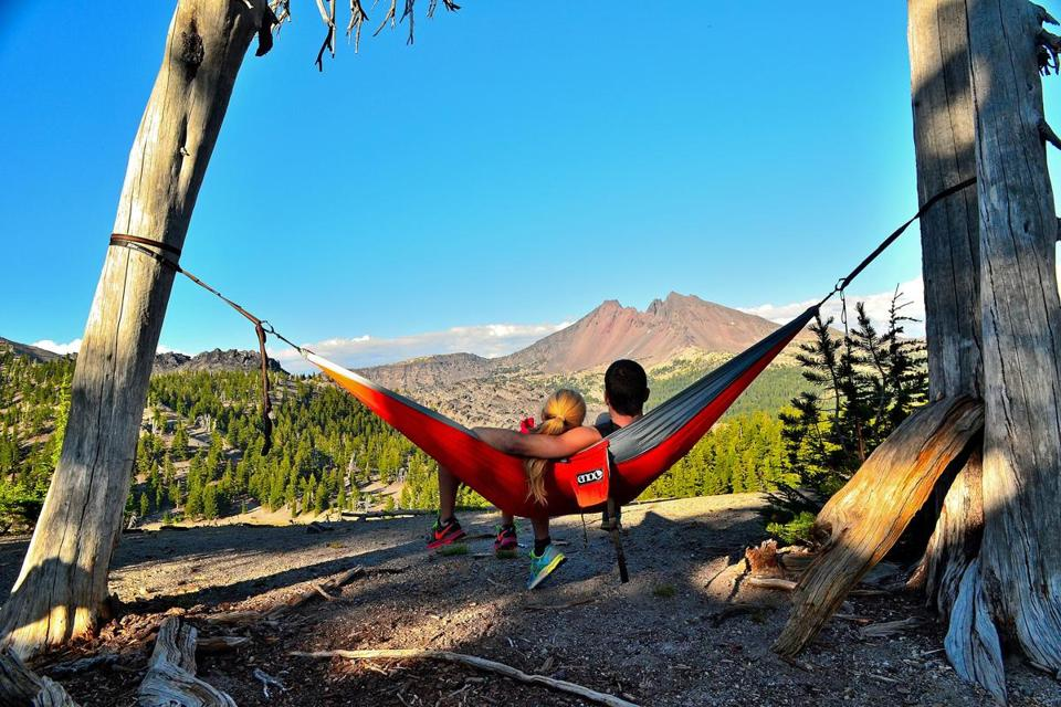 Double hammock for beach or camp.