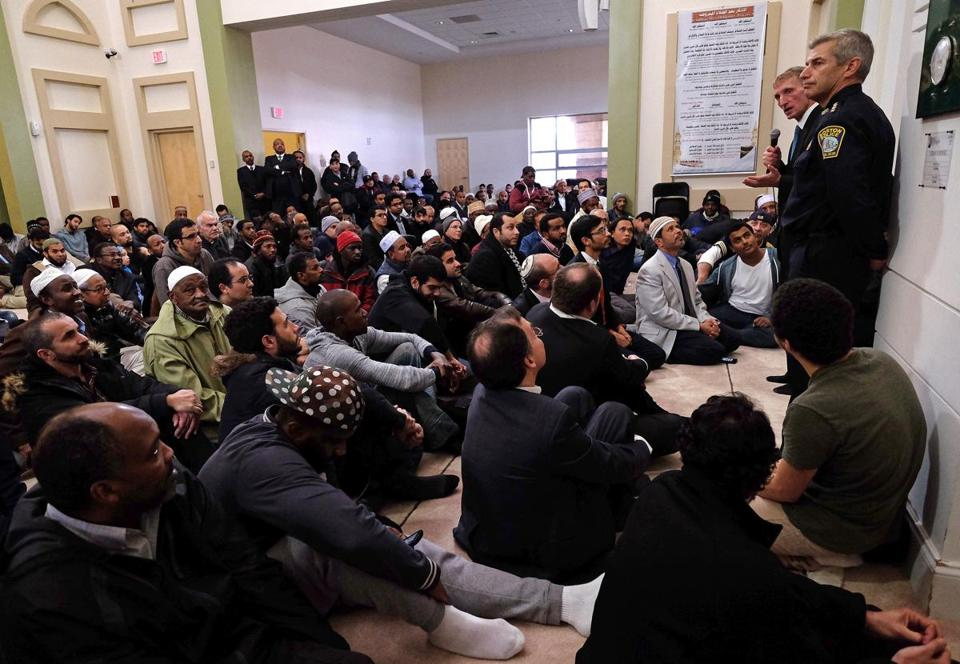 Boston Police Commissioner William Evans and interfaith leaders visited the Islamic Society of Boston Cultural Center on Friday.