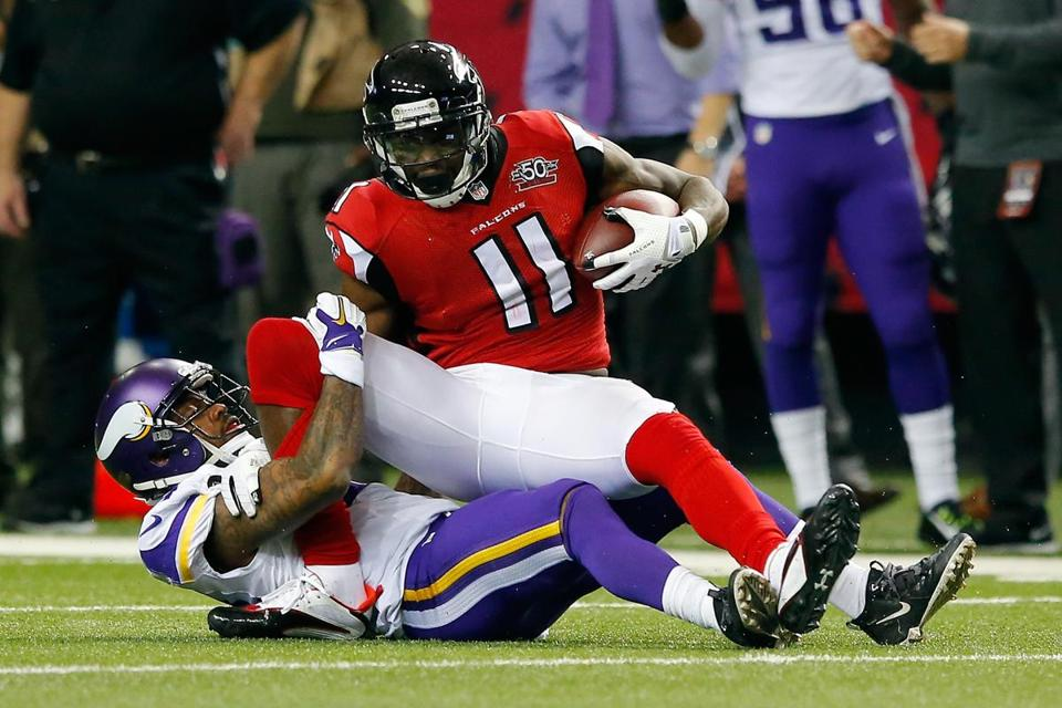 Falcons wide receiver Julio Jones leads the NFL with 94 catches for 1,245 yards.
