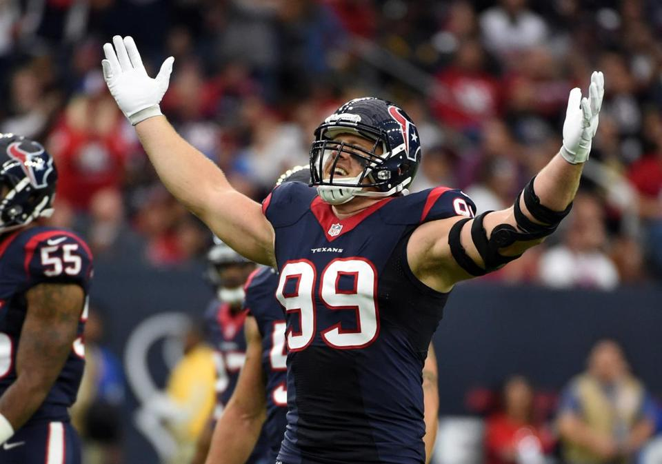 Texans defensive end J.J. Watt needs 1½ sacks to reach 15 for the third time in five seasons.