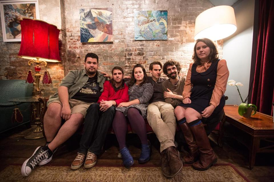 From left: Gavin Wallace-Ailsworth, Vince Welch, Courtney Swain, Chris Baum, Ben Levin, and Jessica Kion of Bent Knee at The Space in Jamaica Plain.
