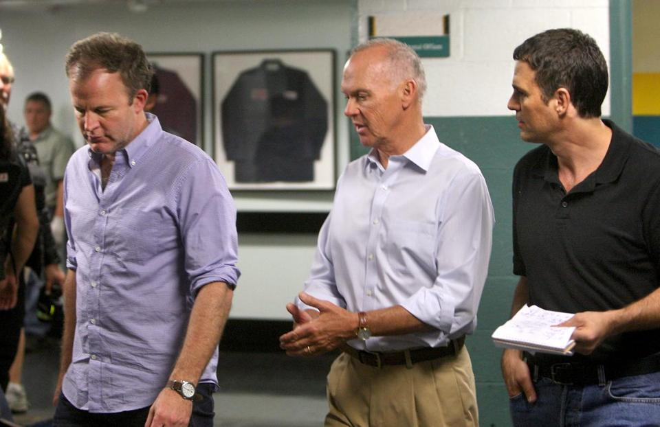 "From left: ""Spotlight"" director Tom McCarthy, and actors Michael Keaton and Mark Ruffalo during filming in 2014."