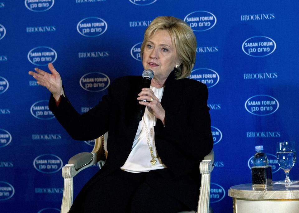 Democratic presidential candidate Hillary Clinton spoke at Saban Forum 2015 in Washington on Sunday.