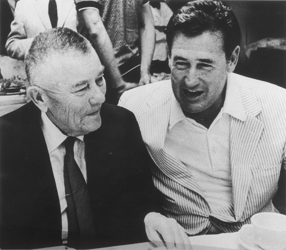 "Former Red Sox owner Tom Yawkey (left), pictured with Ted Williams, said in 1965: ""I have no feeling against colored people."""