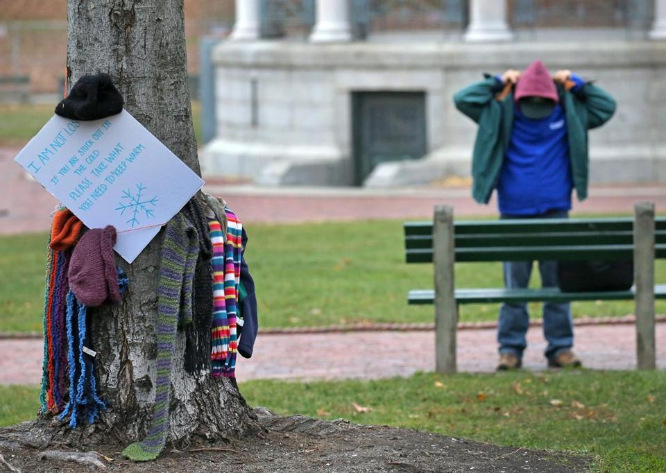 An anonymous donor left warm clothes in Boston Common Tuesday morning.