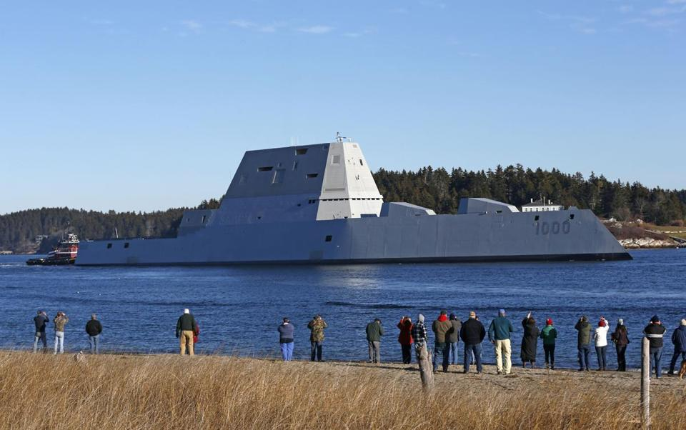 The US Navy's first Zumwalt-class destroyer left the Kennebec River, passing a crowd of spectators near Fort Popham on Monday.
