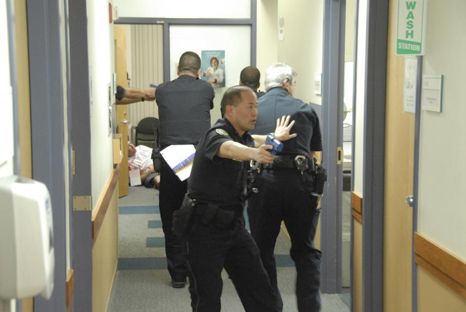 Cambridge police and Cambridge Hospital employees took part in an active shooter training exercise.