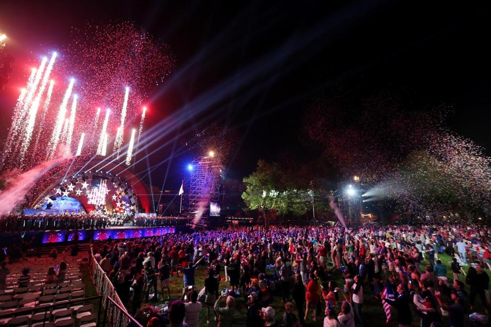 Expect pyrotechnics and special effects at the Hatch Shell when the Boston Pops goes patriotic during the 43rd Fireworks Spectacular on Sunday at the Charles River Esplanade.