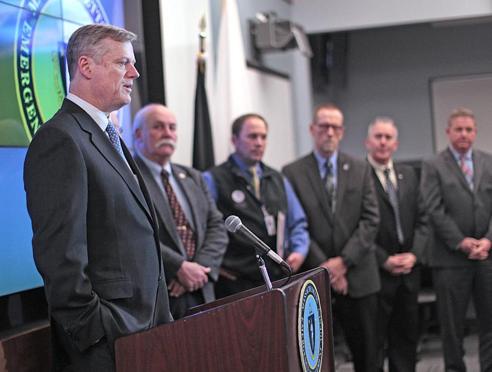 Governor Charlie Baker, joined by emergency management officials, on Wednesday announced a projected $120 million in federal reimbursements.