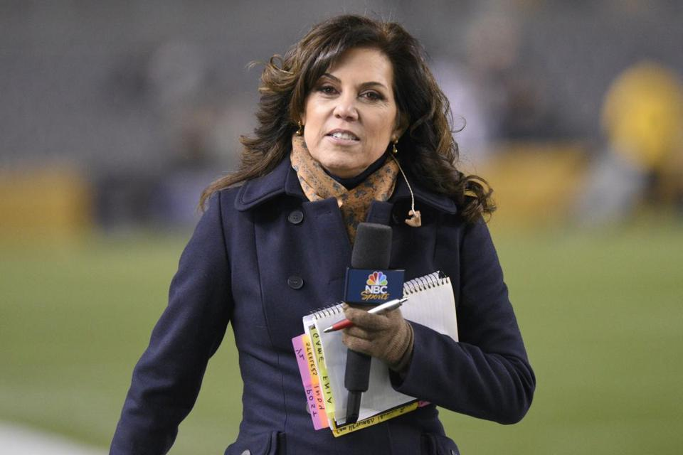 Broadcaster Michele Tafoya walks the sideline before an NFL football game between the Pittsburgh Steelers and the Indianapolis Colts, Sunday, Dec. 6, 2015, in Pittsburgh. (AP Photo/Don Wright)