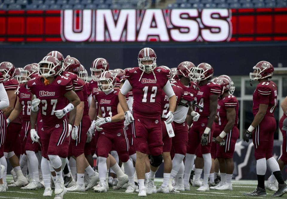 UMass players warmed up before their game against Akron in November.