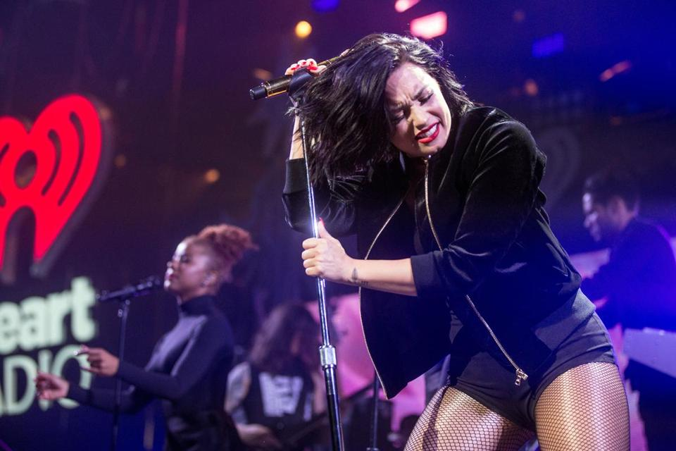 Demi Lovato performing Thursday during KISS 108's iHeartRadio Jingle Ball at TD Garden.