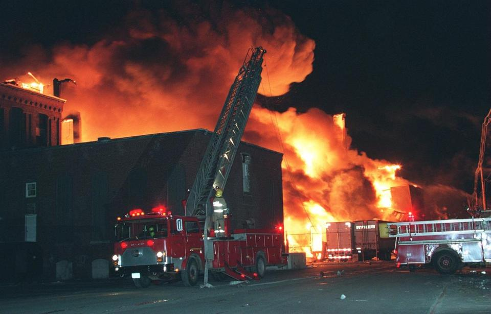 The fire that tore through the Malden Mills plant in Lawrence in December 1995 drew fire departments from as far away as New Hampshire to get it under control.