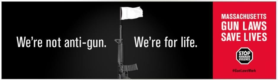 The new anti-gun billboard to be installed by John Rosenthal at 50 Dalton St. in Back Bay.