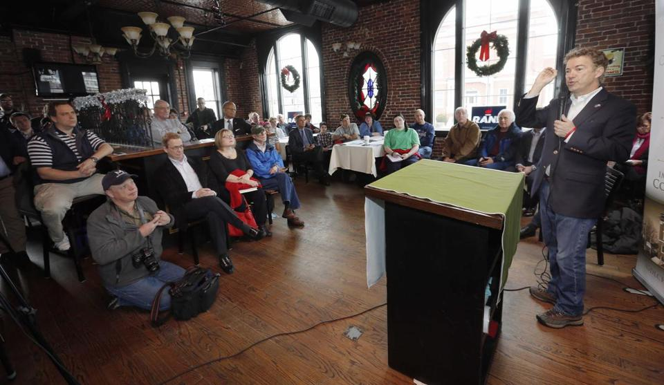 Republican presidential candidate Sen. Rand Paul, R-Ky., speaks during a Chamber of Commerce campaign stop, Friday, Dec. 11, 2015, in Derry, N.H. (AP Photo/Jim Cole)