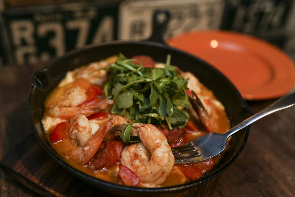 Charleston style shrimp and grits served up at the PigTale Restaurant in Nashua, NH, Friday, Dec. 11, 2015. CREDIT: Cheryl Senter for The Boston Globe