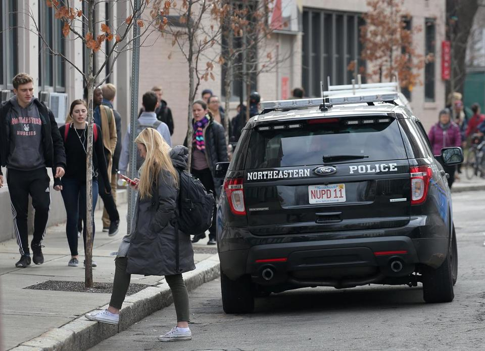 A Northeastern University police vehicle near the school's main campus.