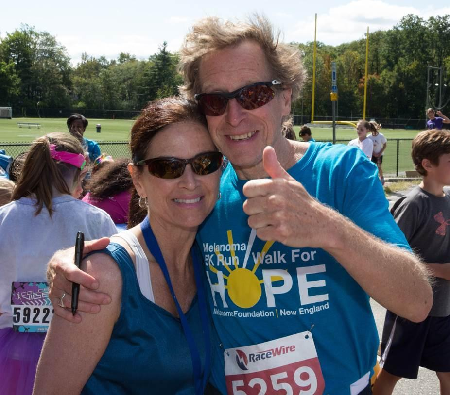Bill Rodgers and his girlfriend, Karen Gillespie, at the Melanoma Foundation 5K in Waltham in September.