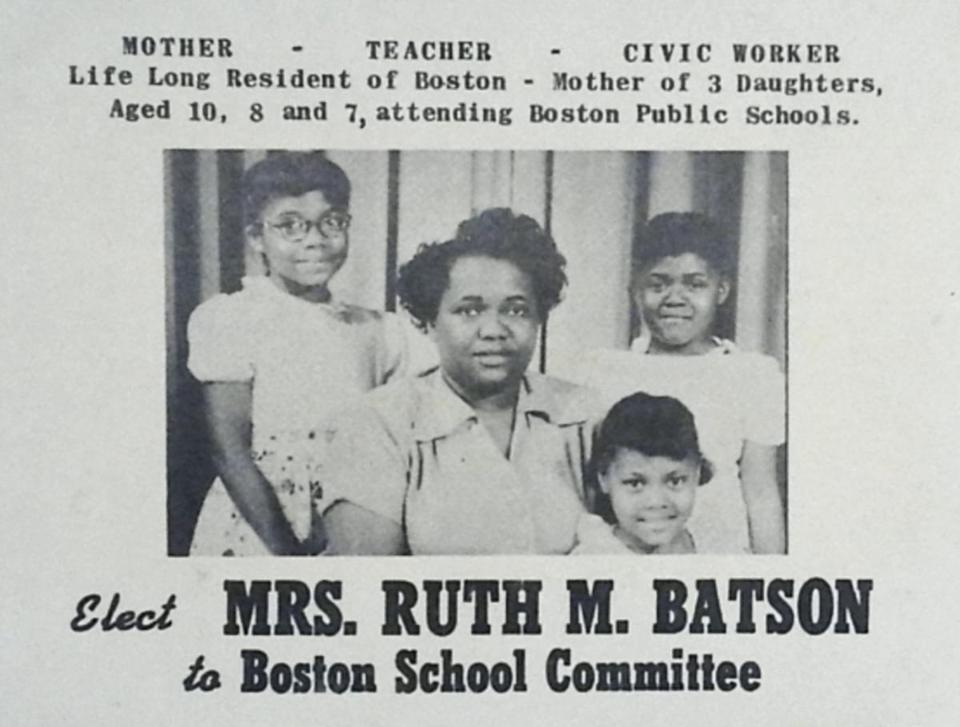 Ruth Batson, shown here in a campaign flier, demanded that the Boston School Committe acknowledge a system of de facto segregation.