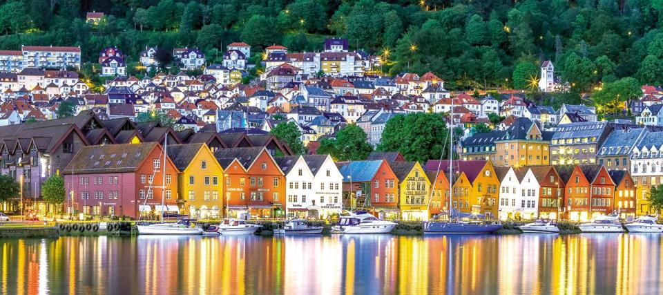 Bergen, Norway in the evening.