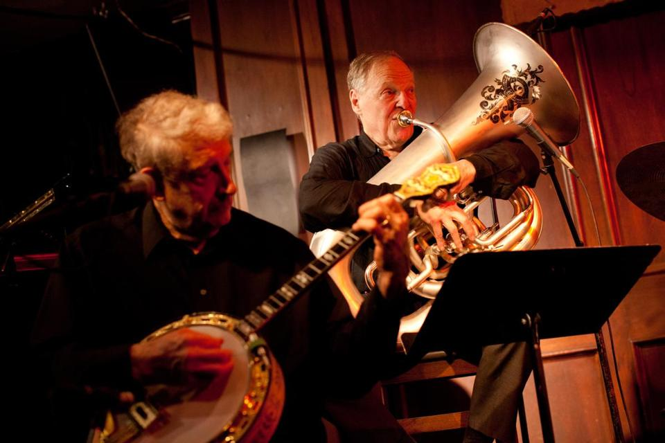 Dr. Eli Newberger performing on tuba with his band Eli & the Hot Six at a recent show at Scullers Jazz Club.