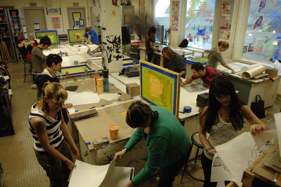 Students worked at the museum school's print studio.