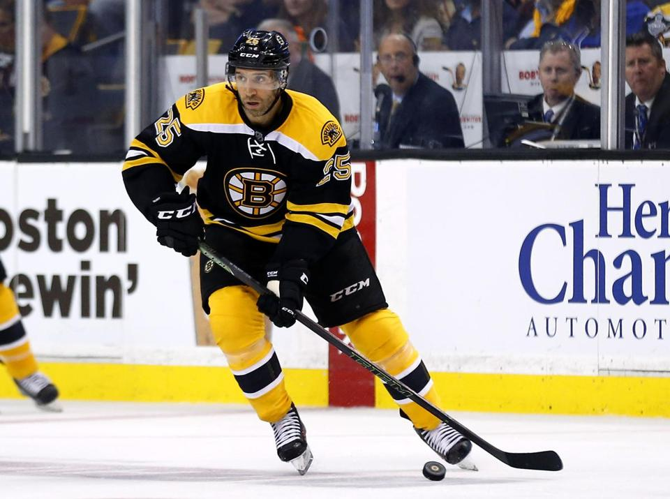 Boston Bruins' Maxime Talbot during the third period of the Boston Bruins 4-3 shootout win over the New York Rangers in an NHL preseason hockey game in Boston Thursday, Sept. 24, 2015. (AP Photo/Winslow Townson)