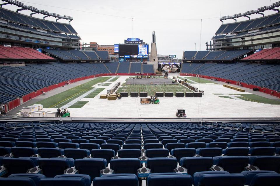 Workers prepared Gillette Stadium to host the Winter Classic.