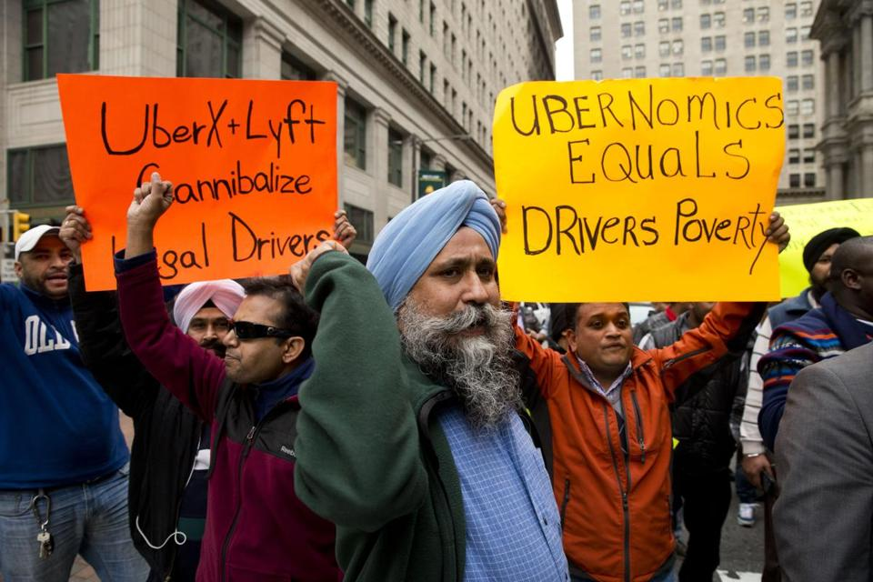 Philadelphia taxi drivers protested Uber X and Lyft ride services on Dec. 16.