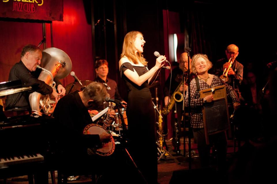 Dr. Eli Newberger (on tuba) plays with his wife, Carolyn (on washboard), and the rest of his band, Eli & the Hot Six, at a recent Scullers Jazz Club show.