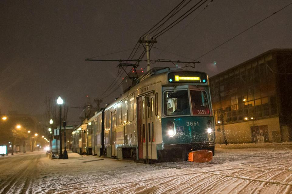 A Green Line train traveled down Huntington Avenue last week.