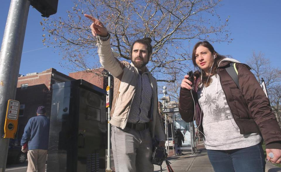 City Councilor Nadeem Mazen gave directions to Allston resident Sarah Mason outside Cambridge City Hall recently. Mazen was reelected in November.