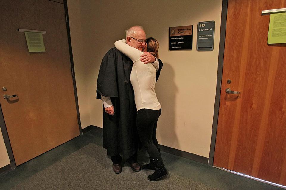 Judge Leonard Shapiro held his last hearing Thursday morning in Boston's immigration court.