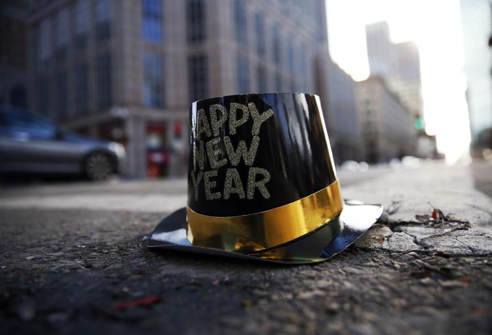 A hat from the previous night's celebration lays on Boylston Street on New Years Day.