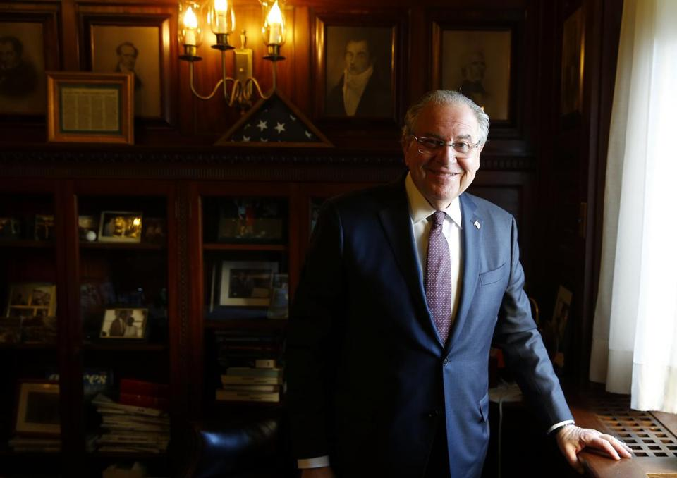 House Speaker Robert DeLeo inside his office at the State House in Boston this month.