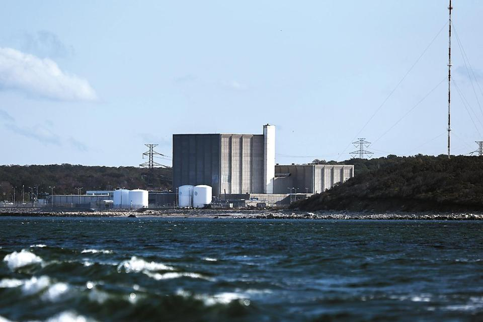 Plymouth, MA - 10/13/2015 - The Pilgrim Nuclear Power Plant as seen from the sea in Plymouth, MA, October 13, 2015. (Keith Bedford/Globe Staff)