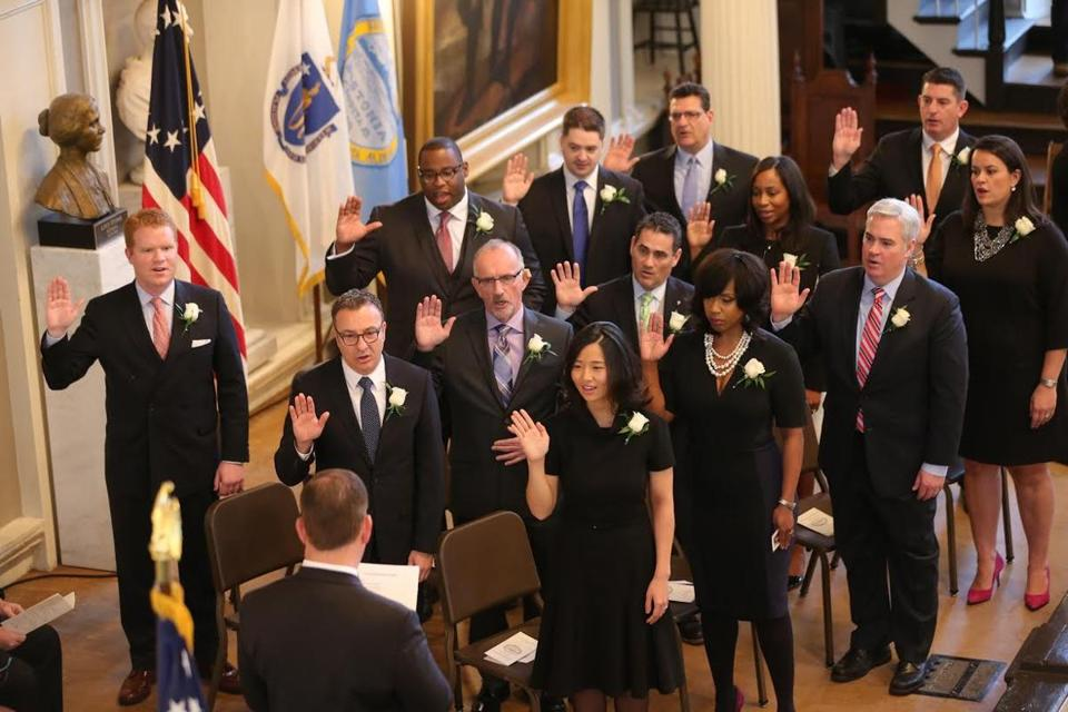 The Boston City Council was sworn in Monday at Faneuil Hall.