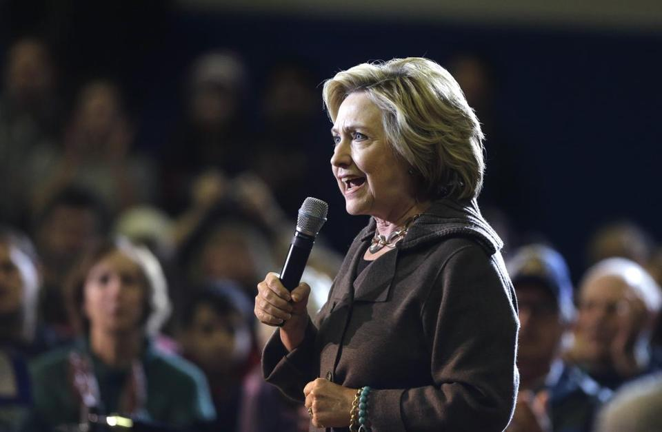 Democratic presidential candidate Hillary Clinton addressed an audience Sunday during a campaign event in Derry, N.H.