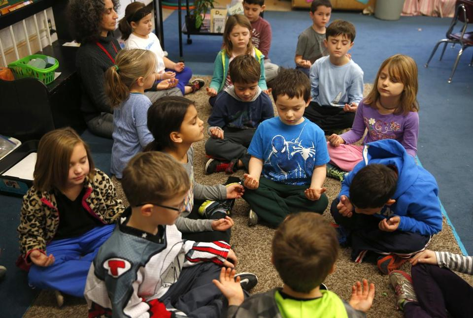 First graders in Maria Simon's first grade class took part in a mindfulness meditation at Birch Meadow School in Reading.