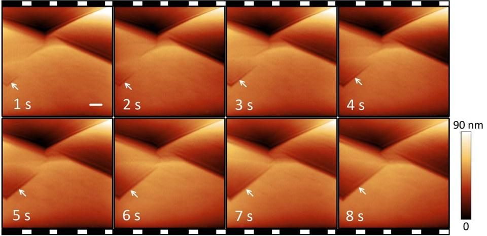 This series of images from MIT's AFM microscope shows the progression of a pit forming on a sample surface.