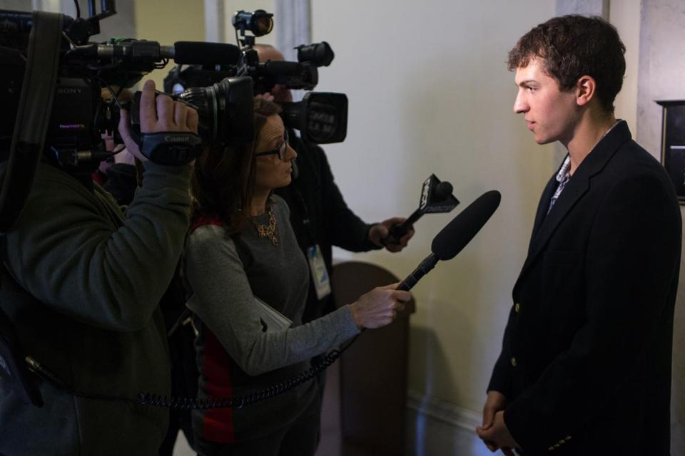 Dustin Weigl, who's brother Chris was killed in an auto accident, spoke to reporters after testifying in a hearing by The Joint Committee on Transportation on several bills to improve safety on Massachusetts roadways at the State House in Boston.