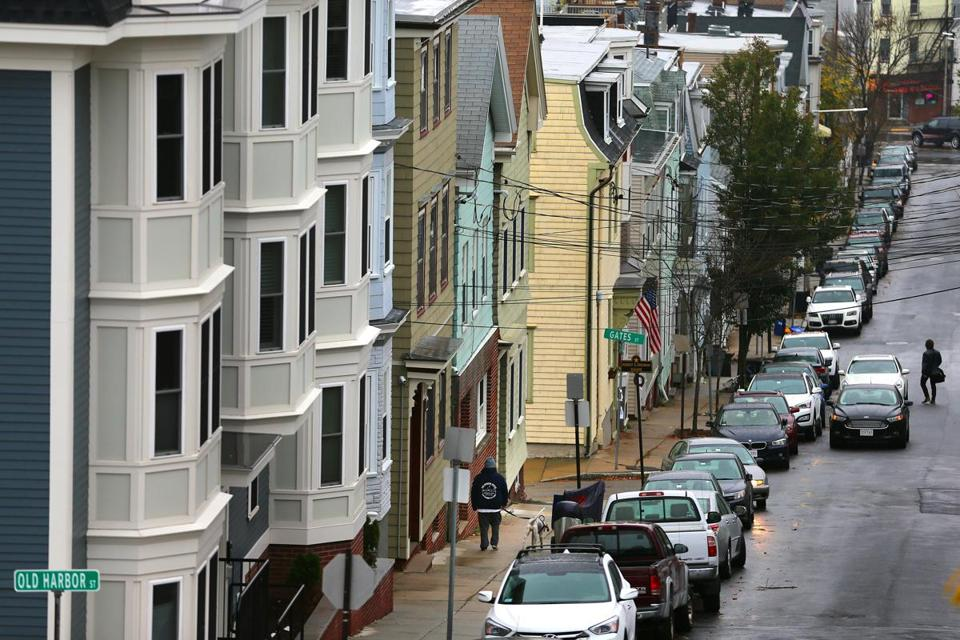 Boston-11/12/15- Housing in Boston is so expensive because it is really expensive to build here, which is the finding of a new report from The Boston Foundation. Looking down at triple deckers on Telegraph Street. Boston Globe staff photo by John Tlumacki(business)