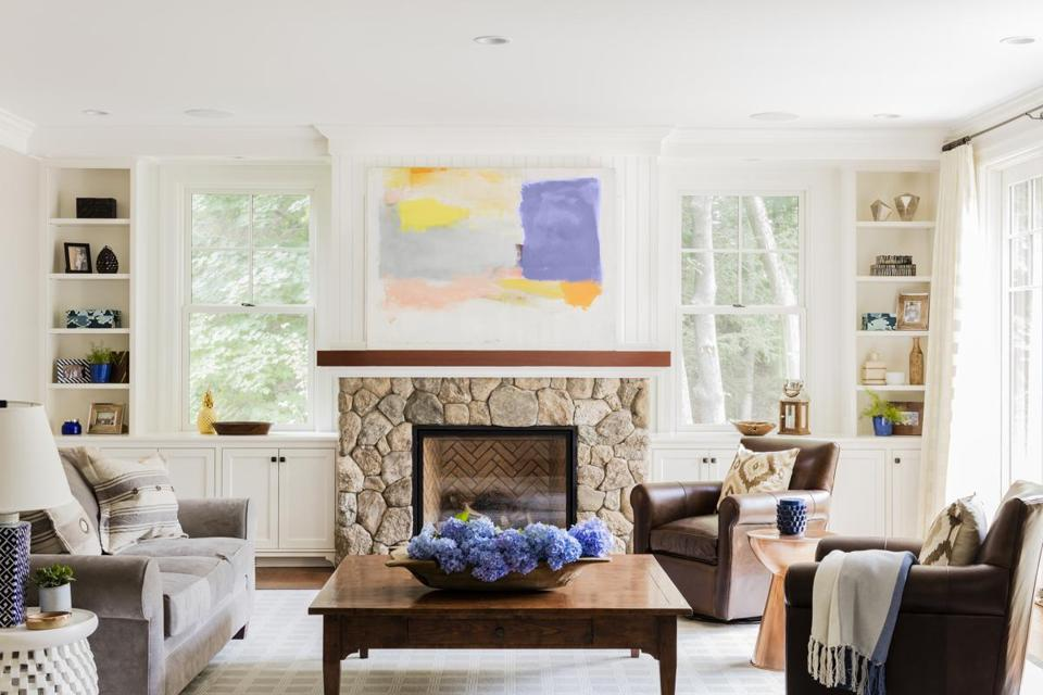 The great room's focal point is the fireplace.