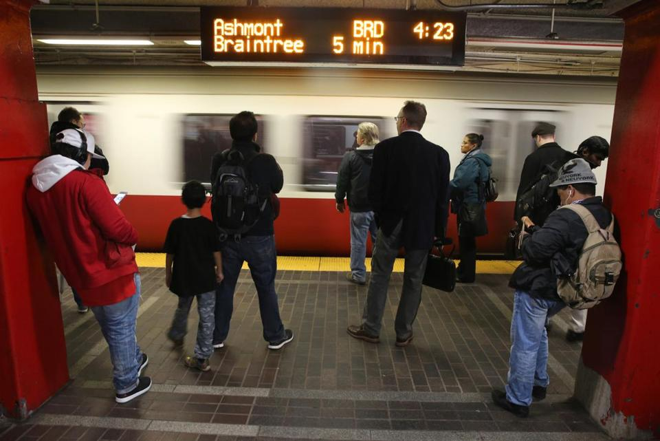 Commuters waited for a Red Line train at the Park Street stop last December.