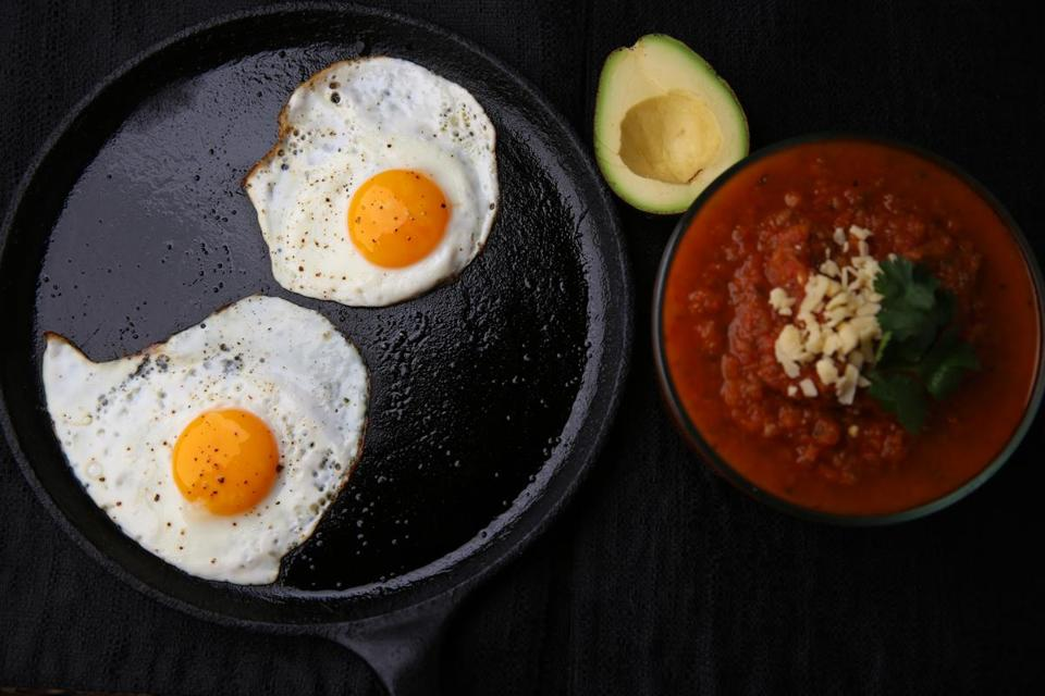 One of the recipes by chef Dawn Ludwig in her husband David's book on eating well is for huevos rancheros with avocado and cheese.
