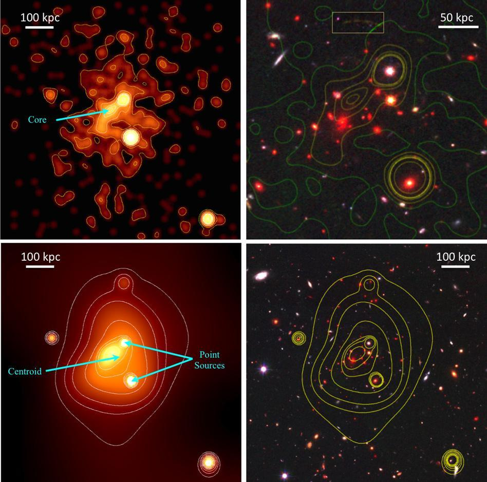 To get a more precise estimate of the galaxy cluster's mass, Michael McDonald and his colleagues used data from several of NASA's Great Observatories: the Hubble Space Telescope, the Keck Observatory, and the Chandra X-ray Observatory.