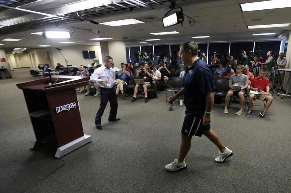 Belichick walked to the podium to address the media July 31 during training camp.