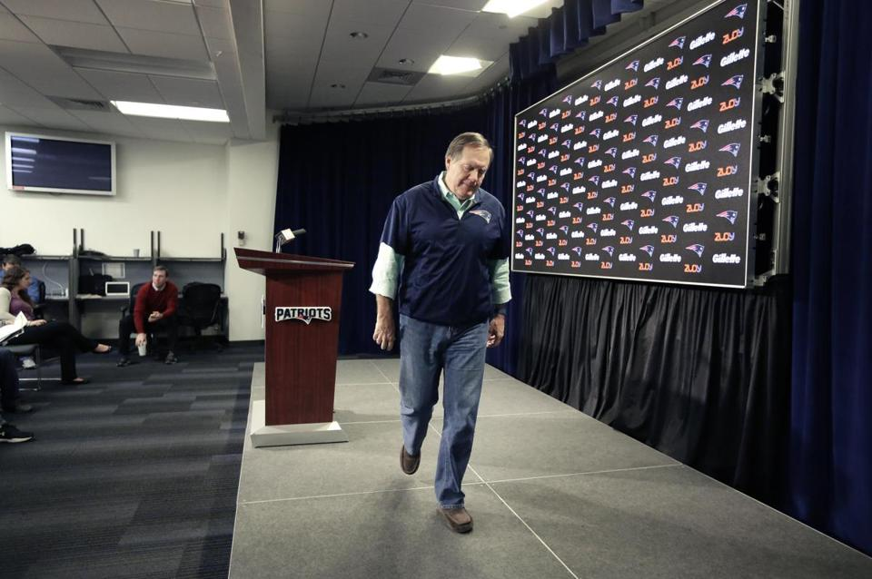 Belichick is required by the NFL to talk to the media five times per week — after each game, and on four other days.