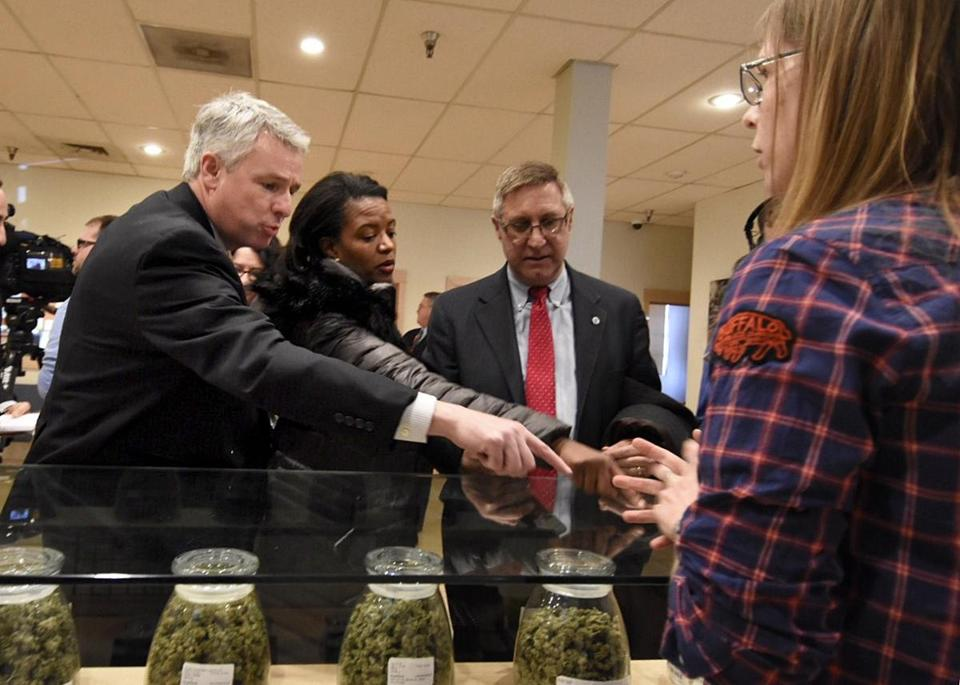 State Senators (from left) John F. Keenan, Linda Dorcena Forry, and Michael J. Rodrigues visited RiverRock Cannabis in Denver Tuesday.