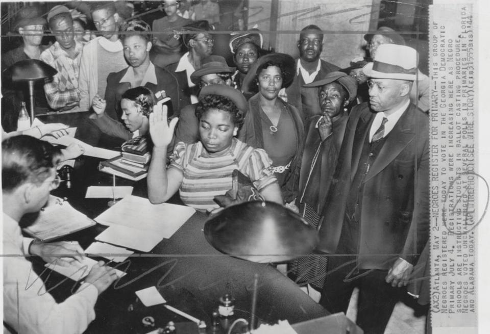 A group of African Americans registering to vote in the Georgia Democratic Primary in 1944.
